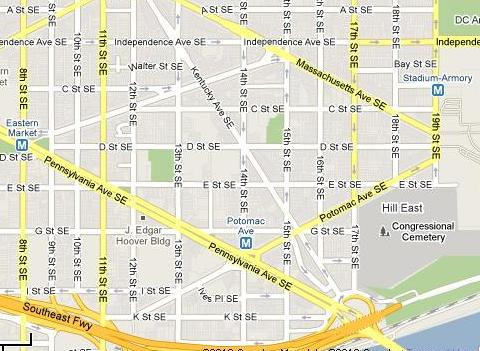 The area east of Barracks Row and and south of East Capitol Street is out of the spotlight. From Google.