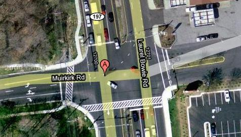 Left hand turns come to this intersection to die. From Google Maps.