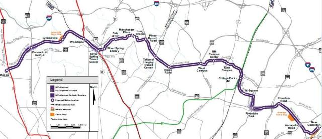 Potential Purple Line route. From purplelinemd.com