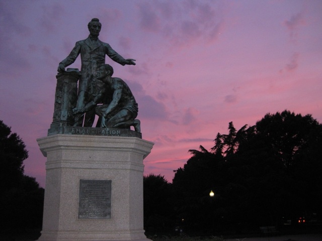 A statue of Abraham Lincoln in Lincoln Park.