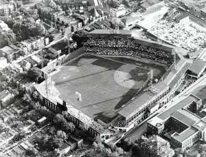 Griffith Stadium, where the Washington Nationals, err, Senators, played until 1961. From Wikipedia.