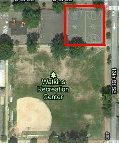 The ballfield has been completely replaced with an artificial turf all-purpose field for soccer, football and baseball. The basketball court (in red) is next in line for renovations. From Google Maps.