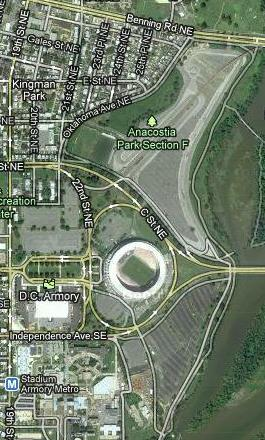 The UFO-like RFK Stadium is surrounded with enough parking for alien's to land their spaceship on, if they so desire.